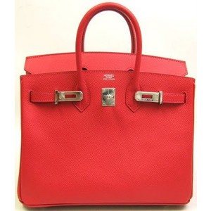 orange red leather hermes birkin handbag