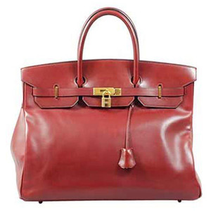 red shiny leather hermes birkin handbag