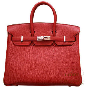 red leather hermes birkin handbag