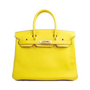 bright yellow leather hermes birkin handbag