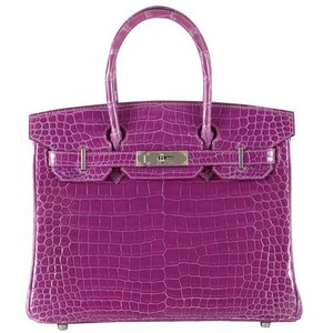 purple crocodile skin hermes birkin handbag