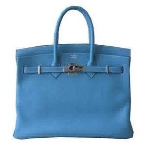 blue hermes birkin handbag