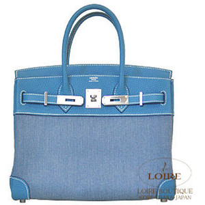 blue leather and fabricl hermes birkin handbag