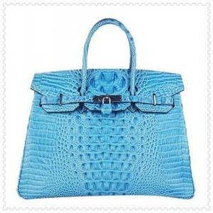 bright blue hermes birkin handbag