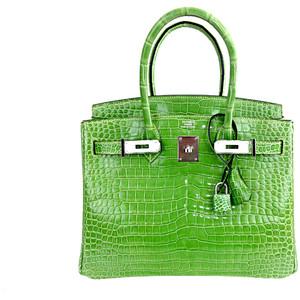green crocodile skin hermes birkin handbag
