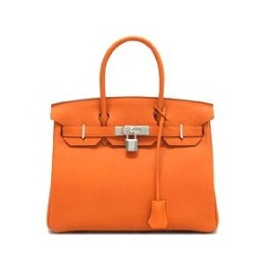 bright orange hermes birkin handbag