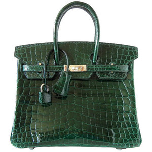 dark green crocodile skin hermes birkin handbag