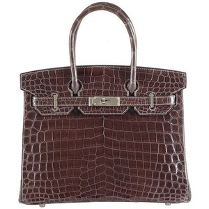 dark brown crocodile skin hermes birkin handbag