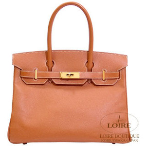 orange brown hermes birkin handbag