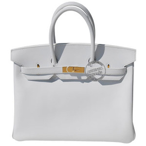 grey white leather hermes birkin handbag