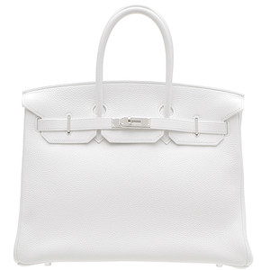 white leather hermes birkin handbag