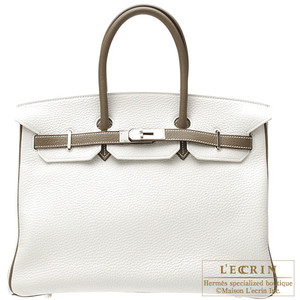 white and brown trim hermes birkin handbag