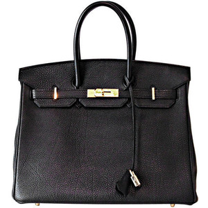 black leather hermes birkin handbag