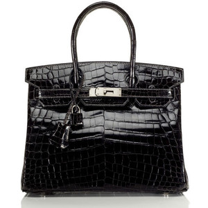 black patent leather hermes birkin handbag