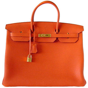 orange leather hermes birkin handbag