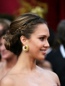 Jessica Alba french braids hairstyle