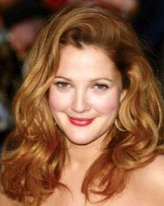 drew barrymore red wavy hairstyle