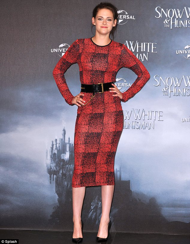 Kristen Stewart red and black checked dress