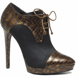 black and light brown ankle boots
