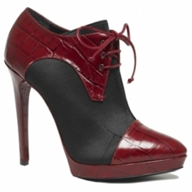 black and red ankle boots