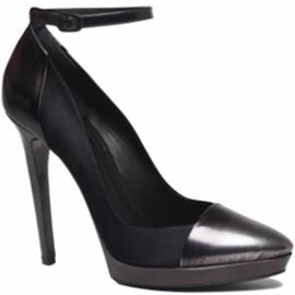 black ankle tie pumps