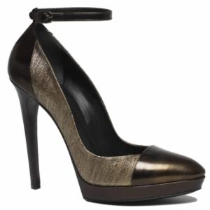 gold metallic ankle tie pumps