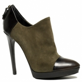 khaki suede and black zip ankle booties