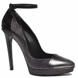 silver metallic ankle tie pumps